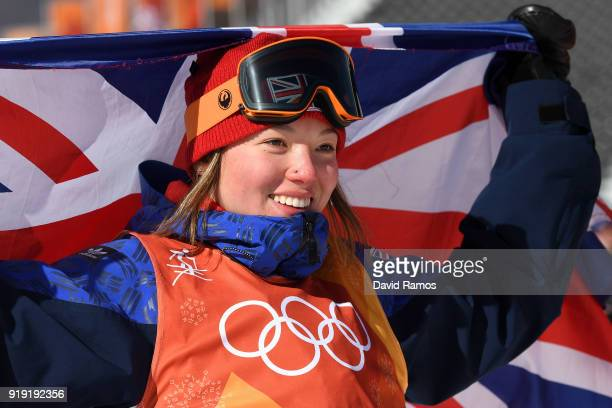 Bronze medalist Isabel Atkin of Great Britain celebrates following the Freestyle Skiing Ladies' Ski Slopestyle final on day eight of the PyeongChang...