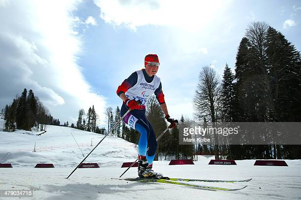 Bronze medalist Iuliia Budaleeva of Russia competes in the Women's Cross Country 5km Free – Visually Impaired on day nine of the Sochi 2014...