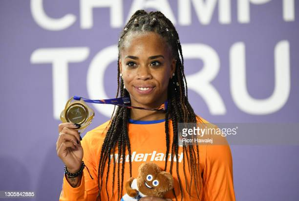 Bronze medalist Jamile Samuel of Netherlands poses for a photo during the medal ceremony for Women's 60 metres during the second session on Day 3 of...