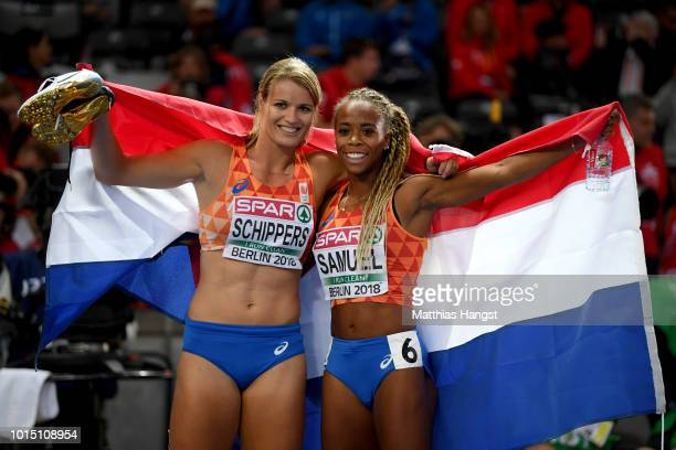 Bronze medalist Jamile Samuel of the Netherlands and silver medalist Dafne Schippers of the Netherlands celebrate after the Women's 200 metres final...