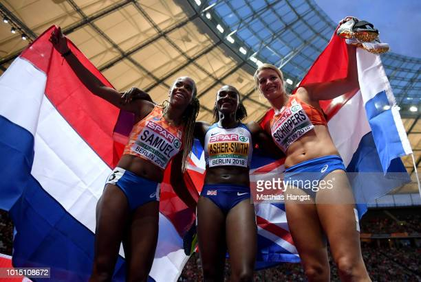 Bronze medalist Jamile Samuel of the Netherlands, gold medalist Dina Asher-Smith of Great Britain and silver medalist Dafne Schippers of the...