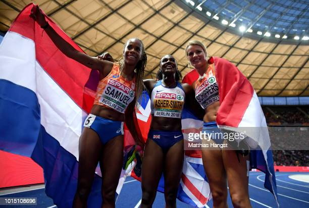 Bronze medalist Jamile Samuel of the Netherlands gold medalist Dina AsherSmith of Great Britain and silver medalist Dafne Schippers of the...