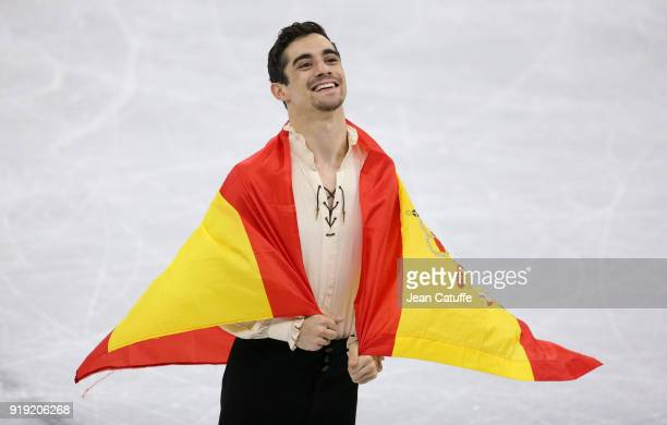 Bronze medalist Javier Fernandez of Spain during the victory ceremony following the Figure Skating Men Free Program on day eight of the PyeongChang...