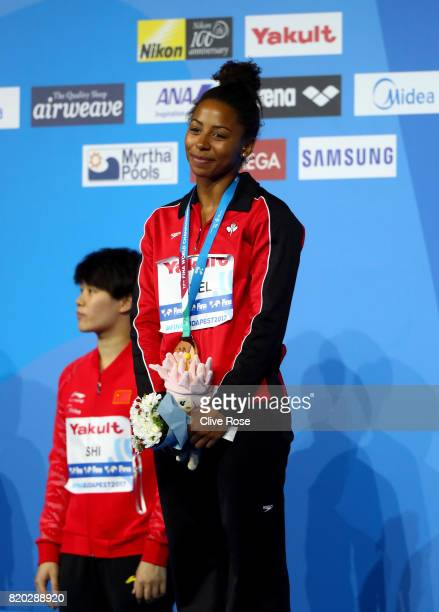 Bronze medalist Jennifer Abel of Canada poses with the medal won during the Women's Diving 3m Springboard final on day eight of the Budapest 2017...