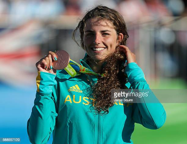 Bronze medalist Jessica Fox of Australia celebrates on the podium during the medal ceremony for the Women's Kayak on Day 6 of the Rio 2016 Olympics...