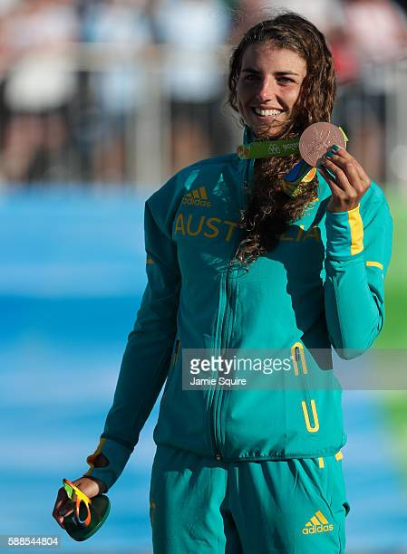 Bronze medalist Jessica Fox of Australia stands on the podium during the medal ceremony for the Women's Kayak on Day 6 of the Rio 2016 Olympics at...