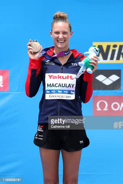 Bronze medalist Jessica Macaulay of Great Britain poses during the medal ceremony for the Women's High Dive on day two of the Gwangju 2019 FINA World...