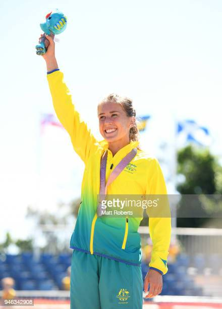 Bronze medalist Jessica Trengove of Australia celebrates during the medal ceremony for the Women's marathon on day 11 of the Gold Coast 2018...