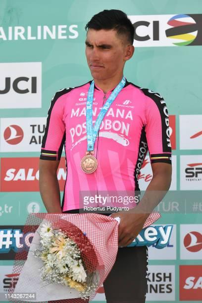Bronze medalist Jhonatan Restrepo of Manzana Postobon Team celebrates on the podium during Stage 2 of the 55th Presidential Cycling Tour of Turkey...