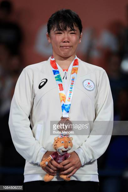 Bronze medalist Juka Kagami of Japan looks on in Women's Freestyle 73kg podium during day 7 of Buenos Aires Youth Olympic Games 2018 at Asia Pavilion...