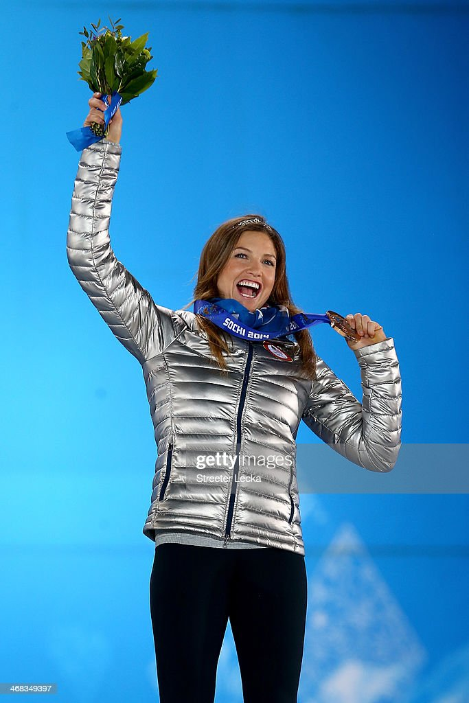 Bronze medalist Julia Mancuso of the United States celebrates during the medal ceremony for the Alpine Skiing Women's Super Combined on day 3 of the Sochi 2014 Winter Olympics at Medals Plaza in the Olympic Park on February 10, 2014 in Sochi, Russia.
