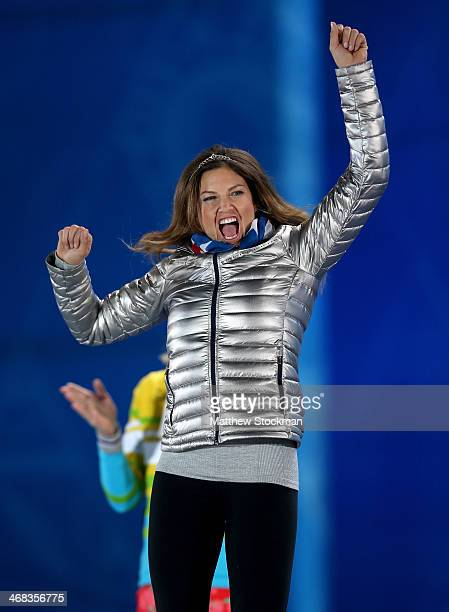 Bronze medalist Julia Mancuso of the United States celebrates during the medal ceremony for the Alpine Skiing Women's Super Combined on day 3 of the...