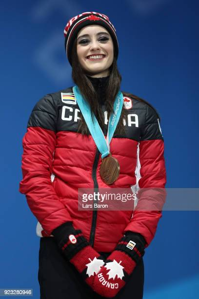 Bronze medalist Kaetlyn Osmond of Canada celebrates during the medal ceremony for Figure Skating Ladies' Single Skating on day 14 of the PyeongChang...