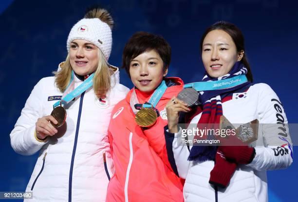 Bronze medalist Karolina Erbanova of the Czech Republic gold medalist Nao Kodaira of Japan and silver medalist SangHwa Lee of Korea celebrate during...