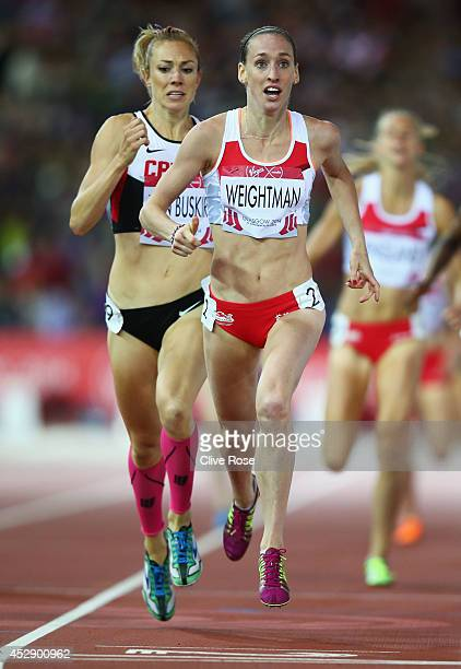 Bronze medalist Kate van Buskirk of Canada and Silver medalist Laura Weightman of England sprint to the line in the Women's 1500 metres final at...