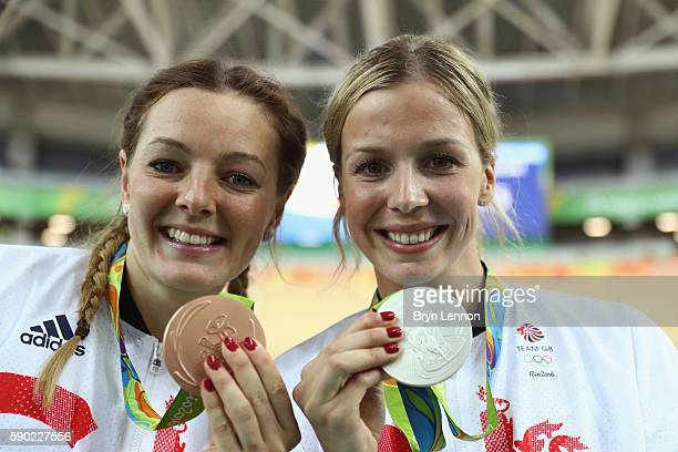 Bronze medalist Katy Marchant of Great Britain and silver medalist Rebecca James of Great Britain celebrate during the medal ceremony after the...