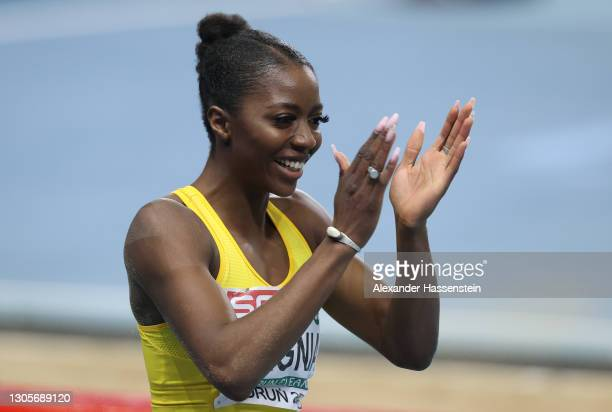 Bronze medalist Khaddi Sagnia of Sweden celebrates after the Women's Long Jump final during the second session on Day 2 of European Athletics Indoor...