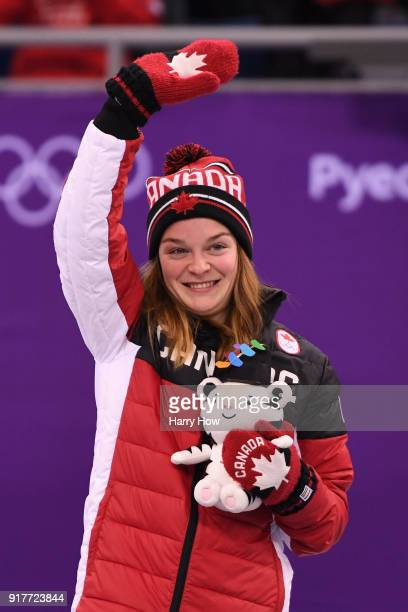 Bronze medalist Kim Boutin of Canada celebrates during the victory ceremony after the Ladies' 500m Short Track Speed Skating final on day four of the...