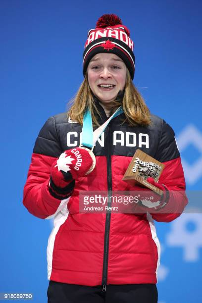 Bronze medalist Kim Boutin of Canada poses during the medal ceremony for the Ladies' 500m Short Track Speed Skating on day five of the PyeongChang...