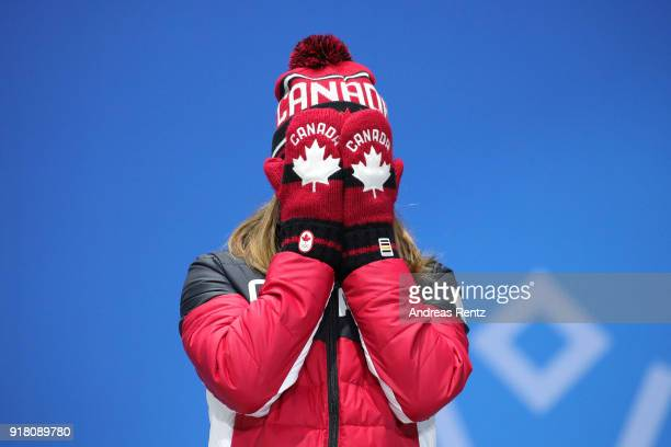 Bronze medalist Kim Boutin of Canada reacts during the medal ceremony for the Ladies' 500m Short Track Speed Skating on day five of the PyeongChang...