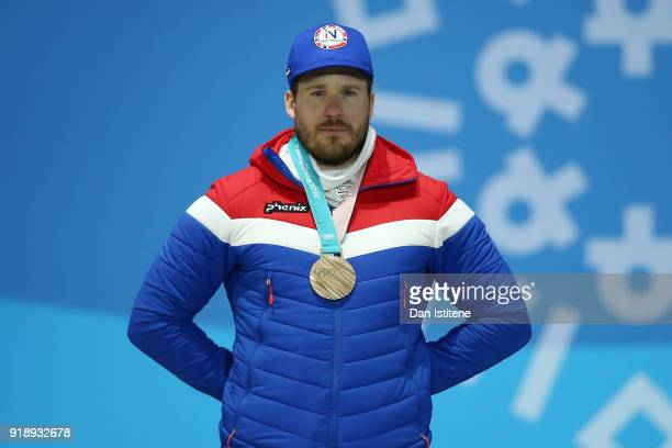 Bronze medalist Kjetil Jansrud of Norway stands during the Medal Ceremony for Alpine Skiing Men's SuperG on day seven of the PyeongChang 2018 Winter...