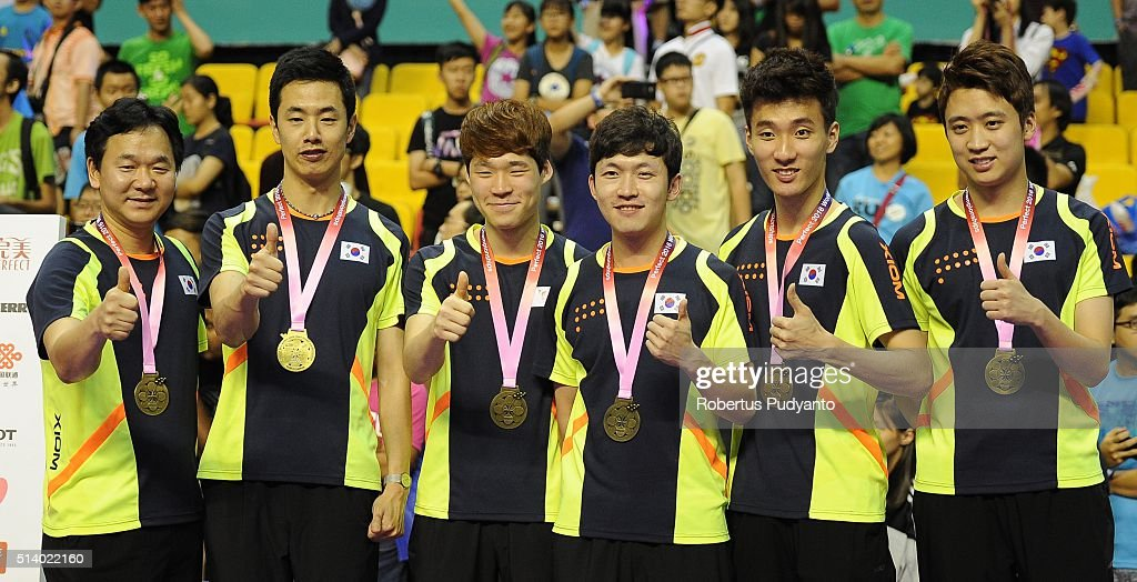 Bronze medalist Korea Republic team during the 2016 World Table Tennis Championship Men's Team Division awarding ceremony at Malawati Stadium on March 6, 2016 in Shah Alam, Malaysia.