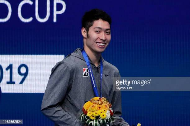 Bronze medalist Kosuke Hagino of Japan smiles after the medal ceremony for the Men's 200m Individual Medley on day two of the FINA Swimming World Cup...