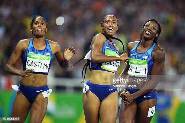Bronze medalist Kristi Castlin gold medalist Brianna Rollins and silver medalist Nia Ali of the United States react after the Women's 100m Hurdles...