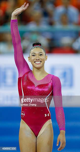 Bronze medalist Kyla Ross of United States celebrates during the medal ceremony after the Women's AllAround Final in day four of the 45th Artistic...