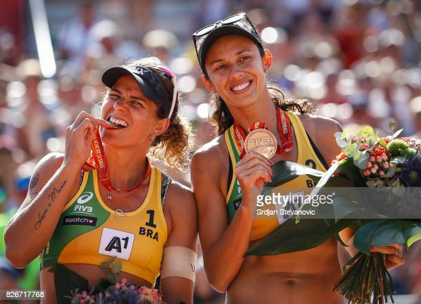 Bronze medalist Larissa Maestrini and Talita Antunes of Brazil pose with the medals during the medal ceremony for the Women's Final on August 05 2017...