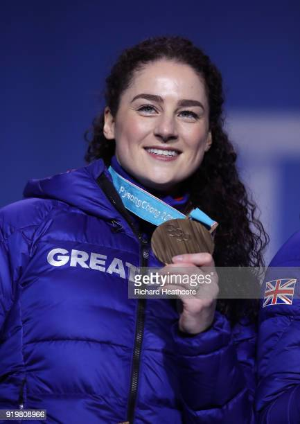 Bronze medalist Laura Deas of Great Britain celebrates during the medal ceremony for the Women's Skeleton on day nine of the PyeongChang 2018 Winter...
