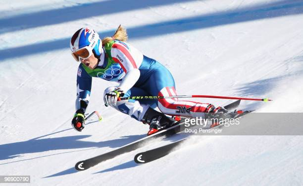 Bronze medalist Lindsey Vonn of the United States competes in the women's alpine skiing SuperG on day nine of the Vancouver 2010 Winter Olympics at...