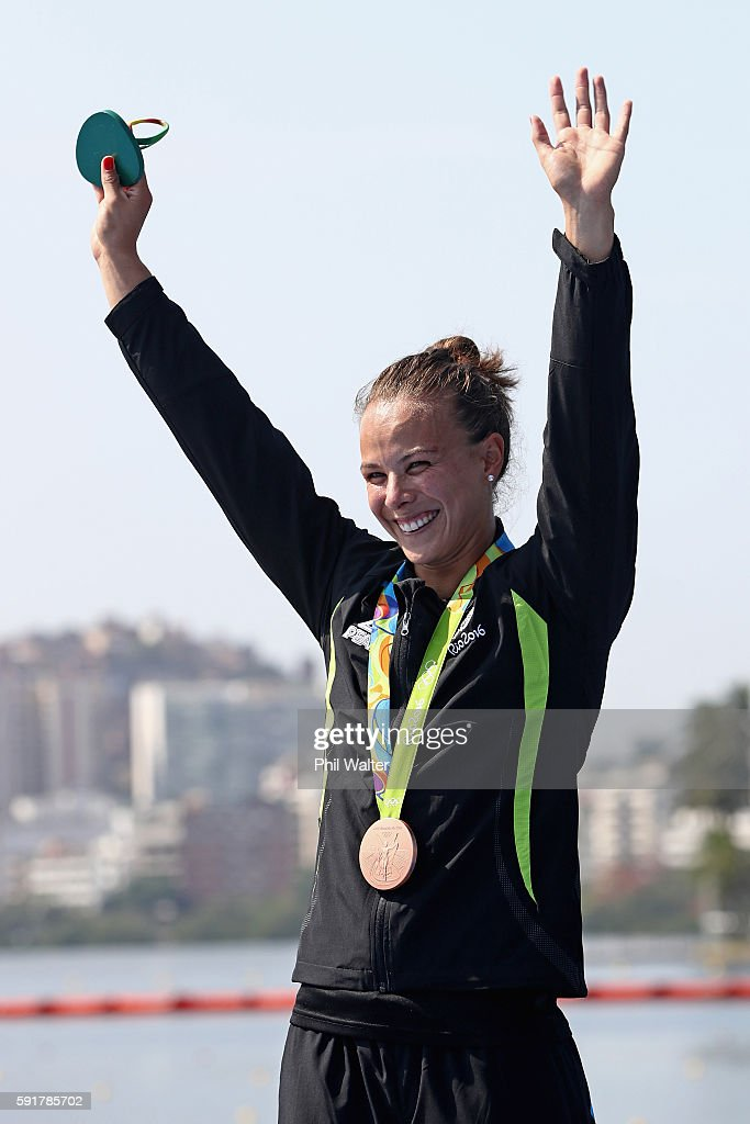 Bronze medalist Lisa Carrington of New Zealand stands on the podium during the medal ceremony for the Women's Kayak Single 500m event at the Lagoa Stadium on Day 13 of the 2016 Rio Olympic Games on August 18, 2016 in Rio de Janeiro, Brazil.