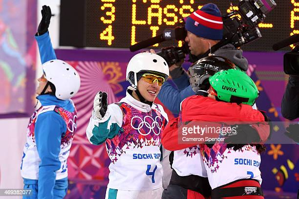 Bronze medalist Lydia Lassila of Australia celebrates after the Freestyle Skiing Ladies' Aerials Finals on day seven of the Sochi 2014 Winter...