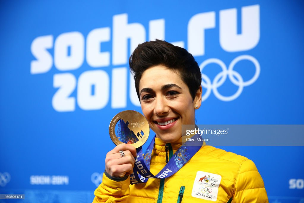 Bronze medalist Lydia Lassila of Australia celebrates during the medal ceremony for the Freestyle Skiing Ladies' Aerials on day 8 of the Sochi 2014 Winter Olympics at Medals Plaza on February 15, 2014 in Sochi, Russia.