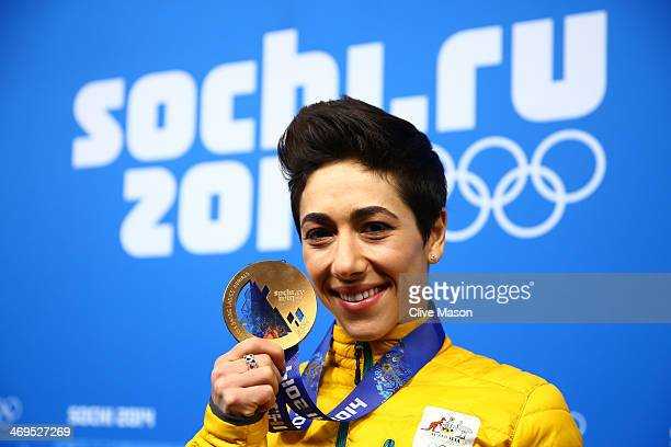 Bronze medalist Lydia Lassila of Australia celebrates during the medal ceremony for the Freestyle Skiing Ladies' Aerials on day 8 of the Sochi 2014...