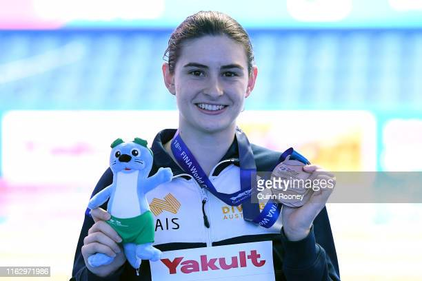 Bronze medalist Maddison Keeney of Australia poses during the medal ceremony of the Women's 3m Springboard Final round on day eight of the Gwangju...
