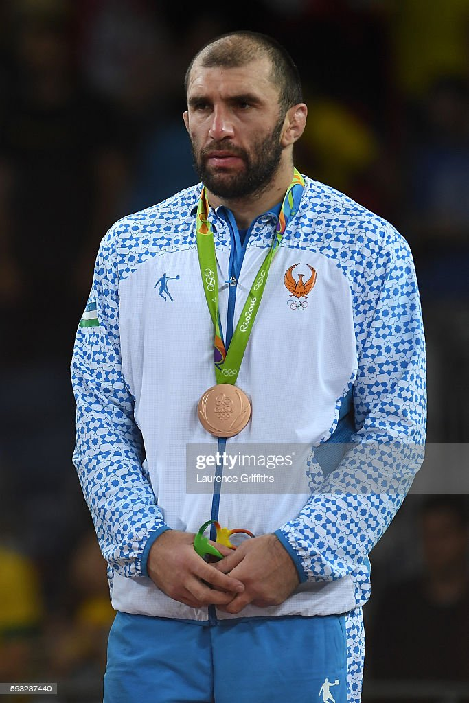 Bronze medalist Magomed Idrisovitch Ibragimov of Uzbekistan stands on the podium during the medal ceremony for the Men's Freestyle 97kg on Day 16 of the Rio 2016 Olympic Games at Carioca Arena 2 on August 21, 2016 in Rio de Janeiro, Brazil.