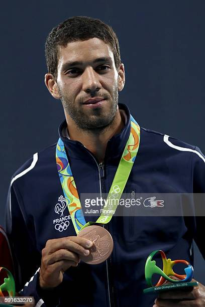 Bronze medalist Mahiedine Mekhissi of France poses during the medal ceremony for the Men's 3000m Steeplechase Final on Day 12 of the Rio 2016 Olympic...