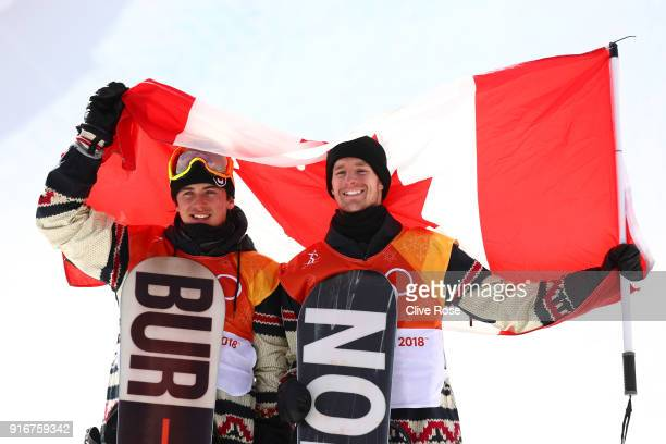 Bronze medalist Mark McMorris of Canada and silver medalist Max Parrot of Canada pose during the victory ceremony for the Snowboard Men's Slopestyle...