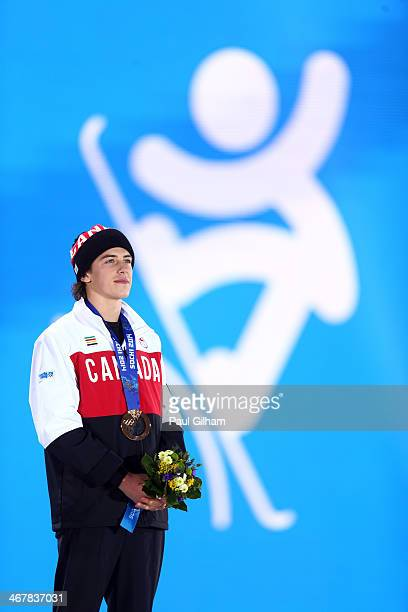 Bronze medalist Mark McMorris of Canada celebrates during the medal ceremony for the Snowboard Men's Slopestyle during day 1 of the Sochi 2014 Winter...