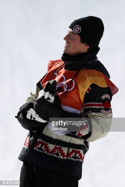 Bronze medalist Mark McMorris of Canada poses during the victory ceremony for the Snowboard Men's Slopestyle Final on day two of the PyeongChang 2018...