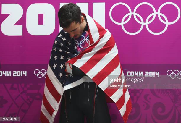 Bronze medalist Matthew Antoine of the United States celebrates after the Men's Skeleton on Day 8 of the Sochi 2014 Winter Olympics at Sliding Center...