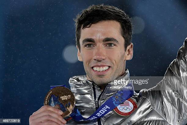 Bronze medalist Matthew Antoine of United States celebrates on the podium during the medal ceremony for the Men's Skeleton on day 9 of the Sochi 2014...