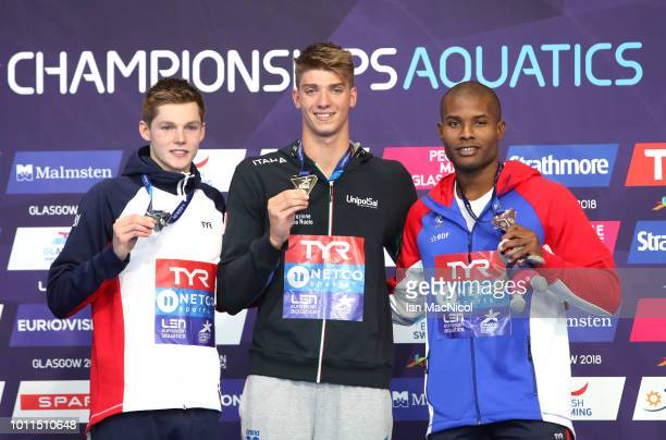 Bronze medalist Mehdy Metella of France Silver medalist Duncan W Scott of Great Britain and Gold medalist Alessandro Miressi of Italy pose with their...