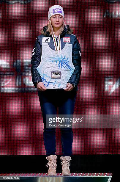 Bronze medalist Michaela Kirchgasser of Austria stands on the podium during the Ladies' Alpine Combined Medals Ceremony in Championships Plaza on Day...