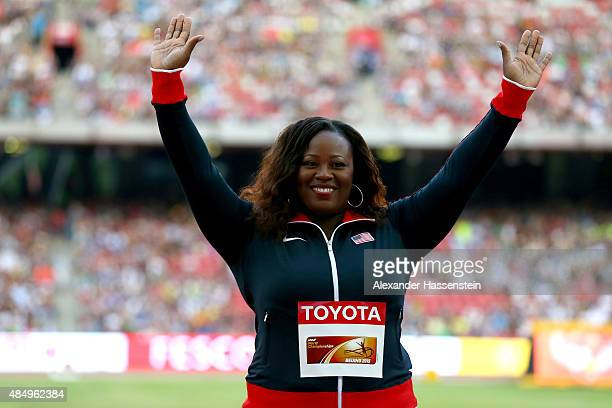 Bronze medalist Michelle Carter of the United States poses on the podium during the medal ceremony for the Women's Shot Put during day two of the...