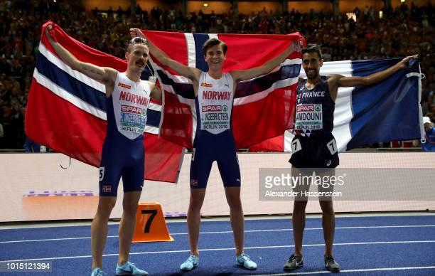 Bronze medalist Morhad Amdouni of France Silver medalsit Henrik Ingebrigsten of Norway and Gold medalist Jakob Ingebrigsten of Norway celebrate after...