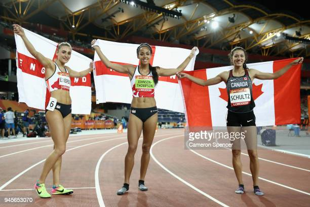 Bronze medalist Niamh Emerson of England gold medalist Katarina JohnsonThompson of England and silver medalist Nina Schultz of Canada celebrate after...