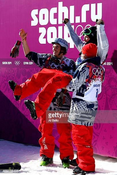 Bronze medalist Nicholas Goepper of the United States gold medalist Joss Christensen of the United States and silver medalist Gus Kenworthy of the...